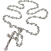 Large Beautiful Vintage Sterling Silver & Crystal Signed CREED Rosary