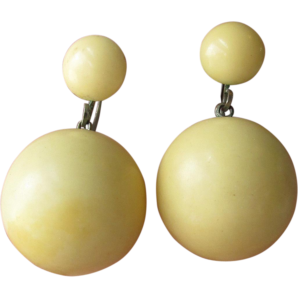 1930's Vintage Ivory Genuine Bakelite Dangle Bead Earrings