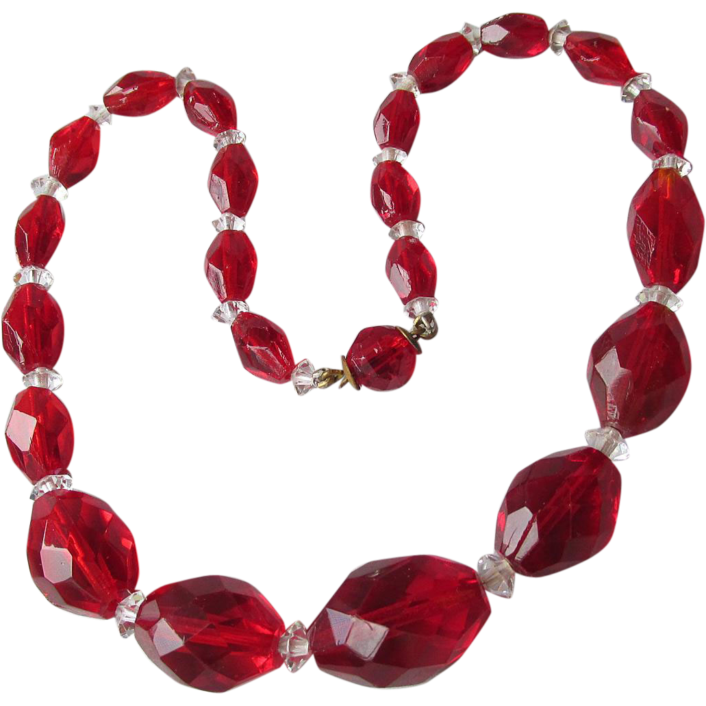 "Gorgeous 1920's Vintage Red Crystal Bead 14"" Long Choker Flapper Necklace"