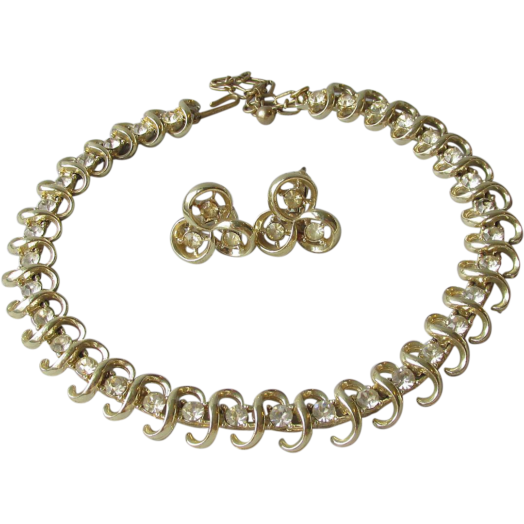 Vintage 1950's Modernist Signed CORO Rhinestone Choker Necklace & Earrings Set