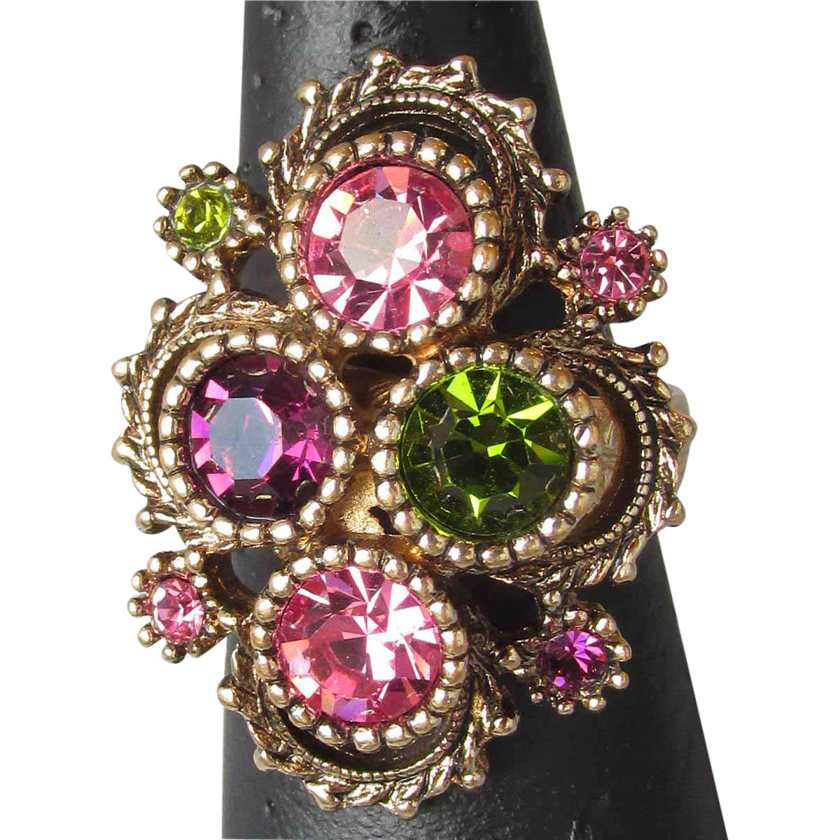 Vintage 1973 Sarah Coventry Austrian Lites Adjustable Pink Rhinestone Cocktail Ring