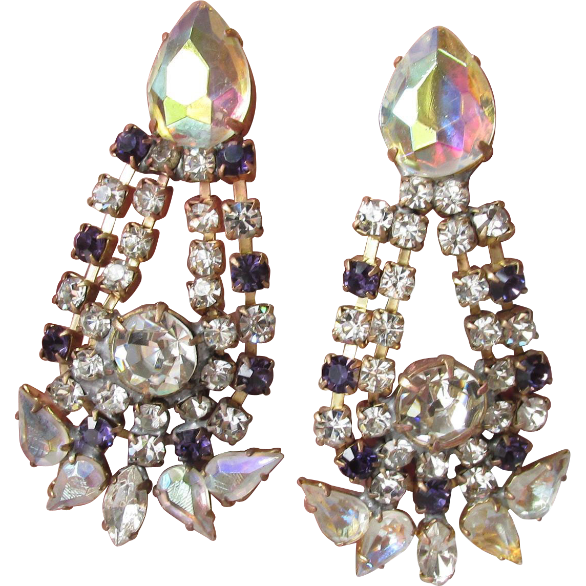 Spectacular Vintage Upcycled Czech Signed Bijoux MG Purple & AB Crystal Rhinestone Dangle Earrings
