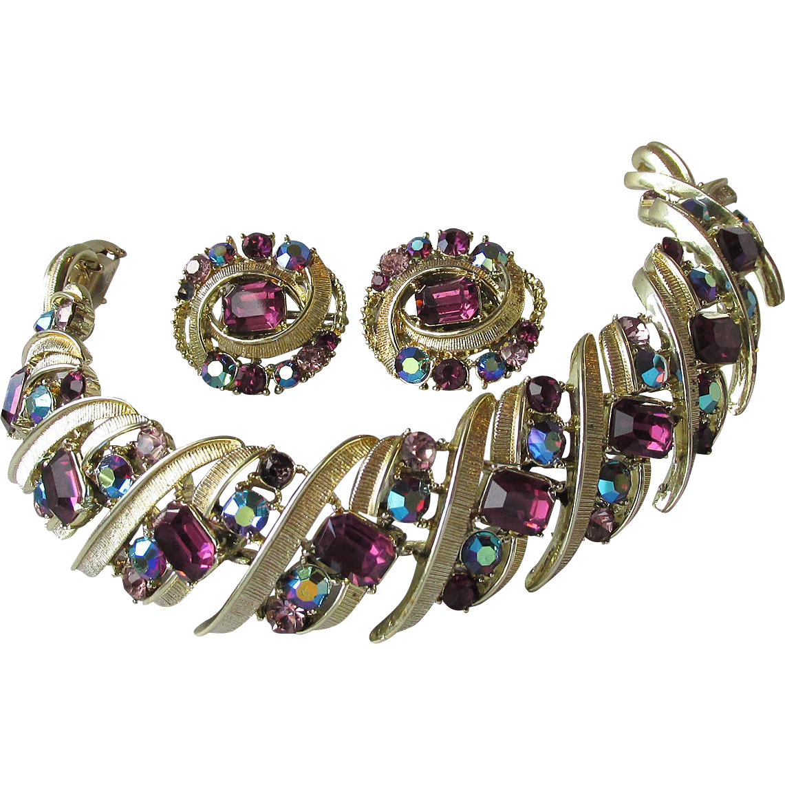 Vintage CORO Pegasus Purple & Blue AB Rhinestone Bracelet & Earrings Set