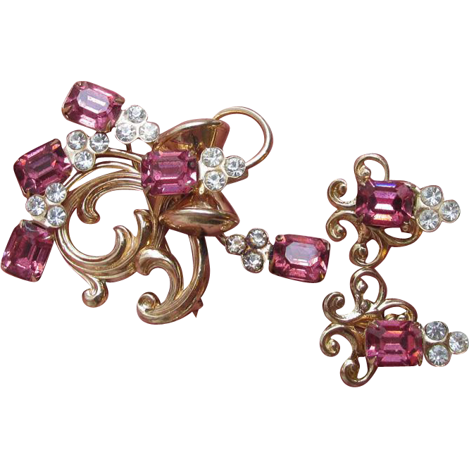 Retro 1940's Vintage Emerald Cut Pink Rhinestone Pin Pendant & Earrings Set