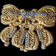 DRASTIC REDUCTION Antique Edwardian Big Blue Rhinestone Dangle Bow Pin
