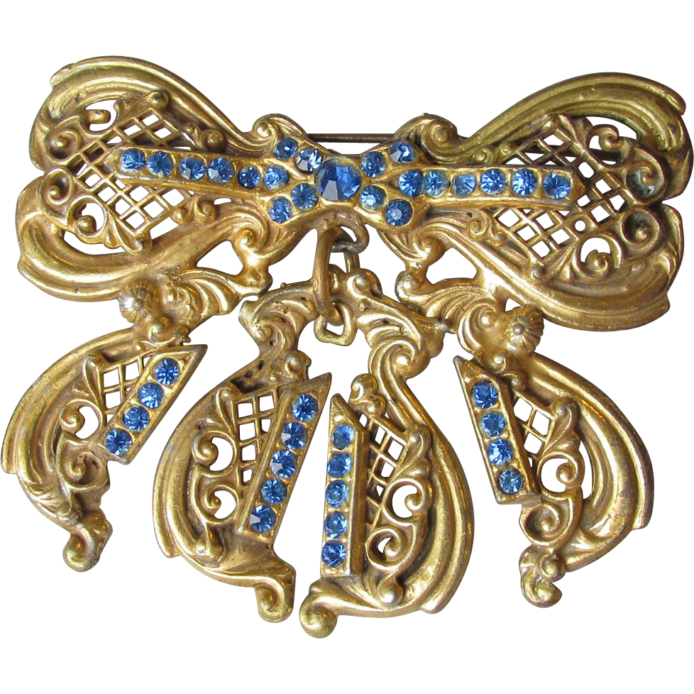 DRASTIC REDUCTION Antique Edwardian Big Blue Rhinestone Dangle Bow Pin
