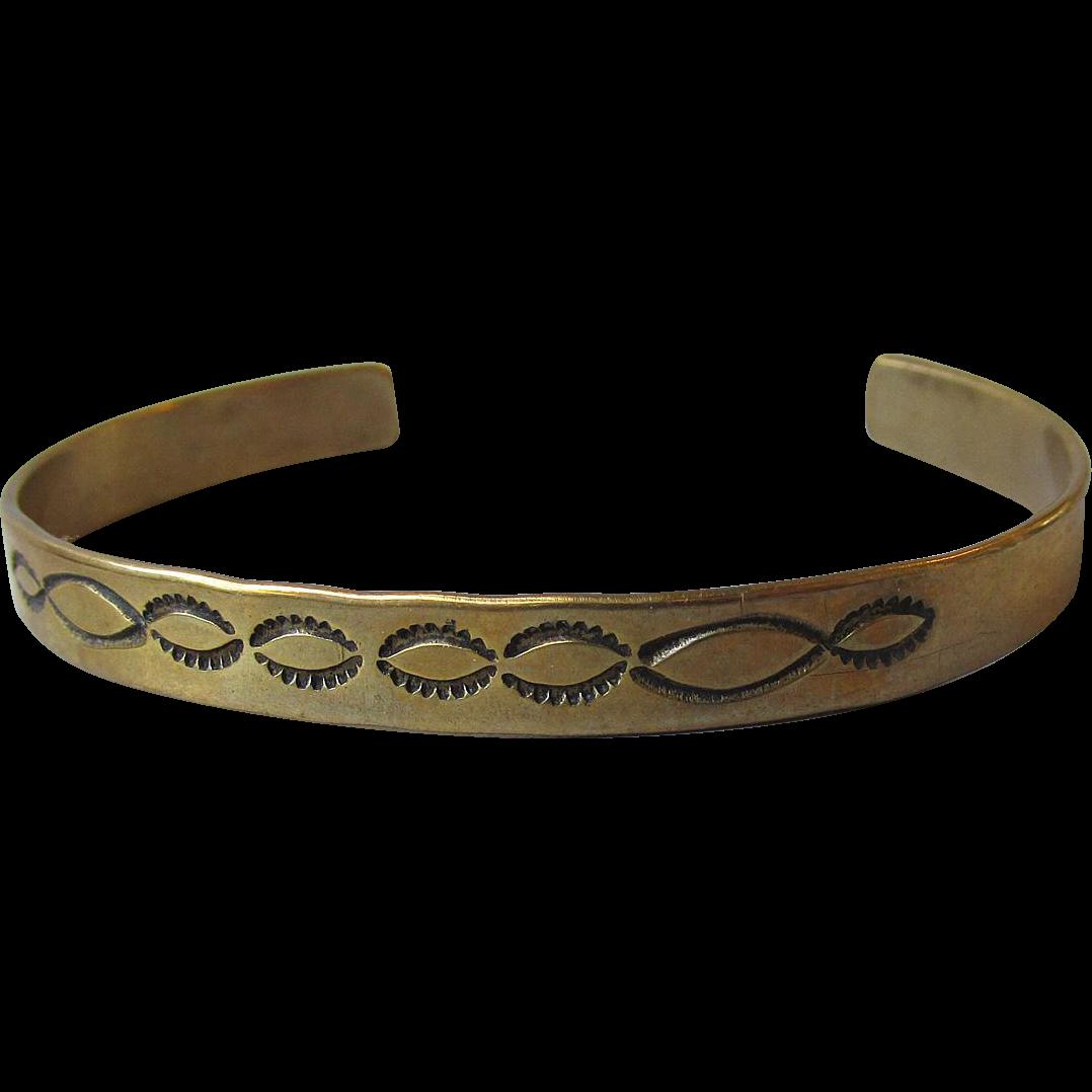 Vintage HOPI Sterling Silver Cuff Bracelet with Gold Wash