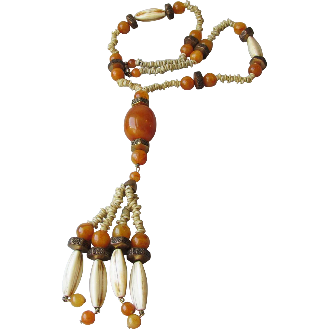 Hippie Era 1960's Vintage Amber Lucite & Bone LONG Tassel Necklace