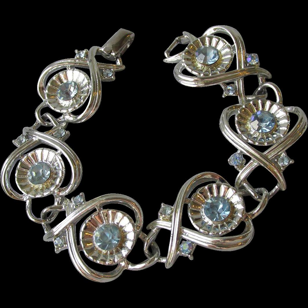 Vintage CORO Baby Blue Rhinestone WIDE Link Silver Tone Bracelet
