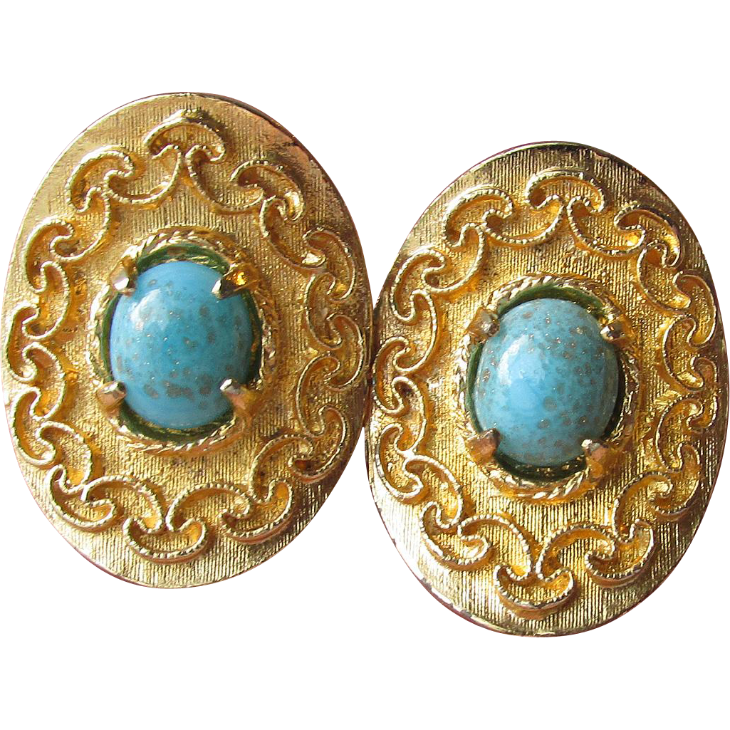 VENDOME Vintage Turquoise Venetian Glass Gold Tone Clip Earrings