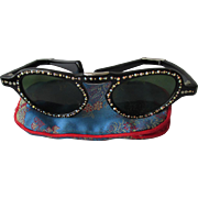 1950's Vintage Folding Cat's Eye Rhinestone Sunglasses in Silk Case