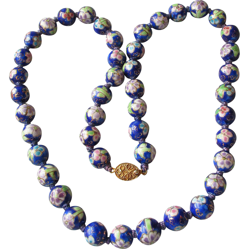Vintage Chinese Export Long Cobalt Blue & Lavender Large Cloisonne Bead Necklace