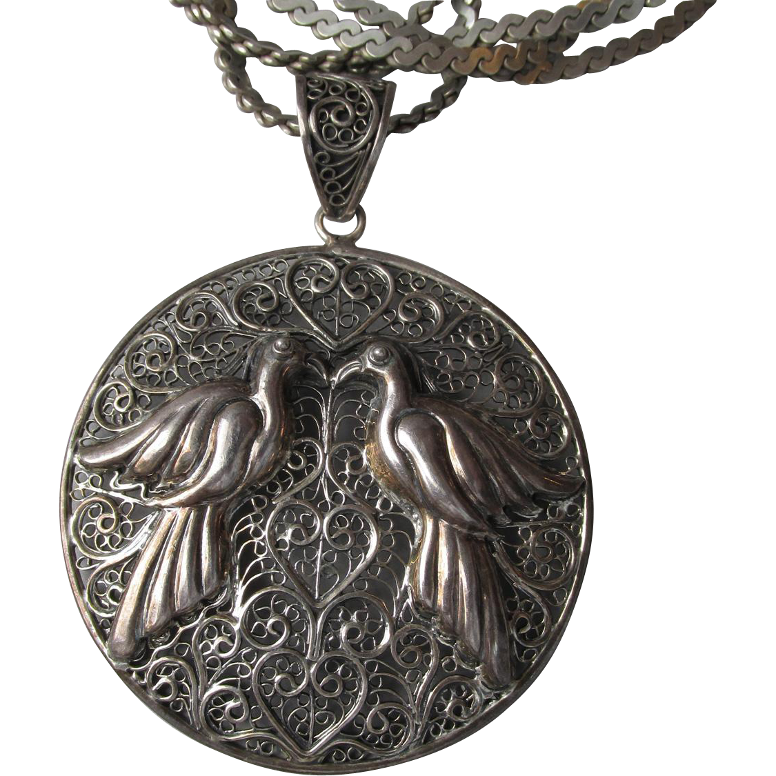 Vintage Gemala Bali Sterling Silver Filigree Two Doves Pendant on Long Chain Necklace
