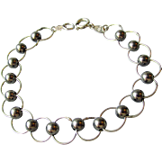 Vintage Italian Sterling Silver Circle & Bead Link Bracelet, Size Small 6 3/4""