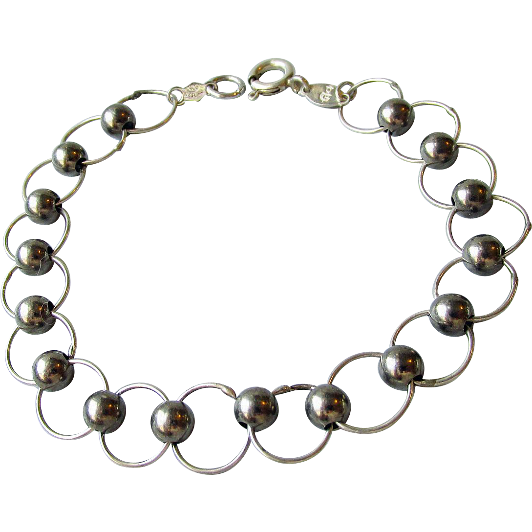 """Vintage Italian Sterling Silver Circle & Bead Link Bracelet, Size Small 6 3/4"""""""
