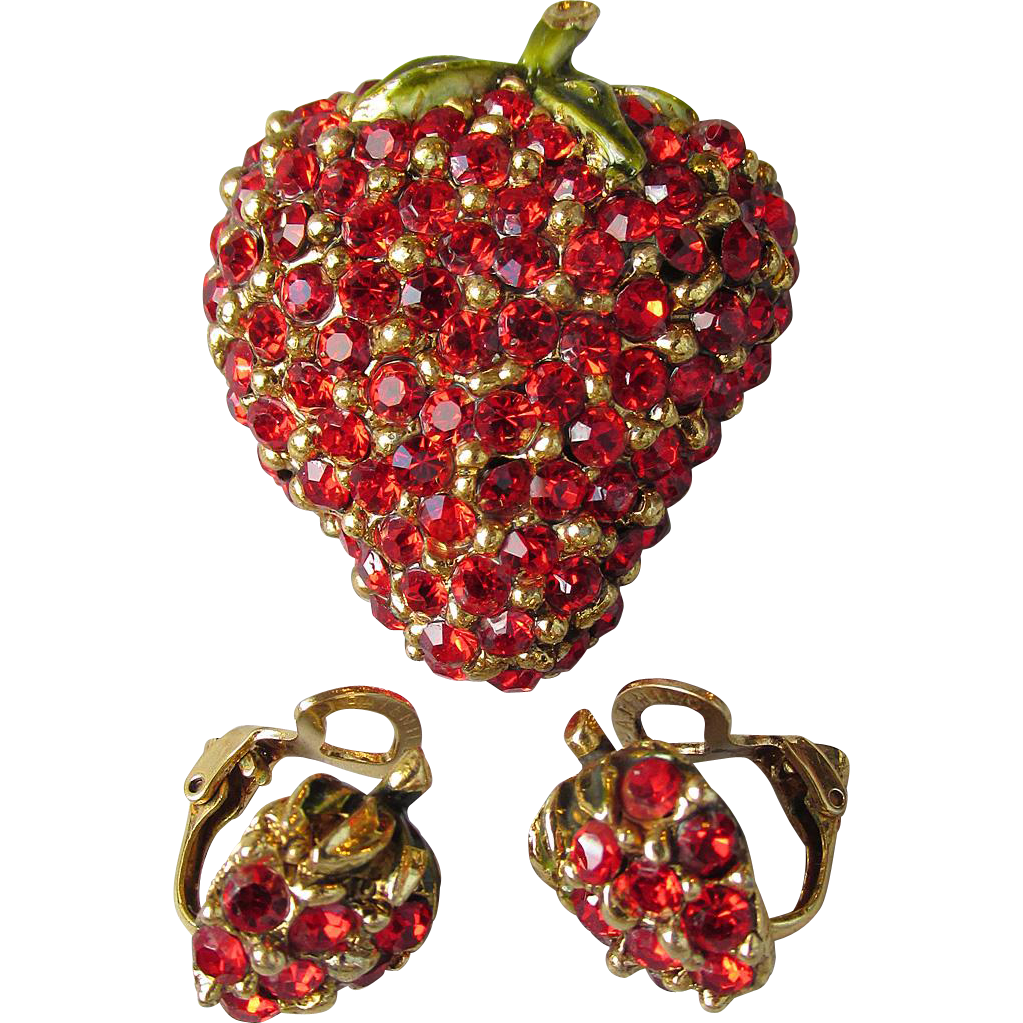 Vintage Red Rhinestone & Enamel STRAWBERRY Pin & Earrings Set, Unmarked Ciner