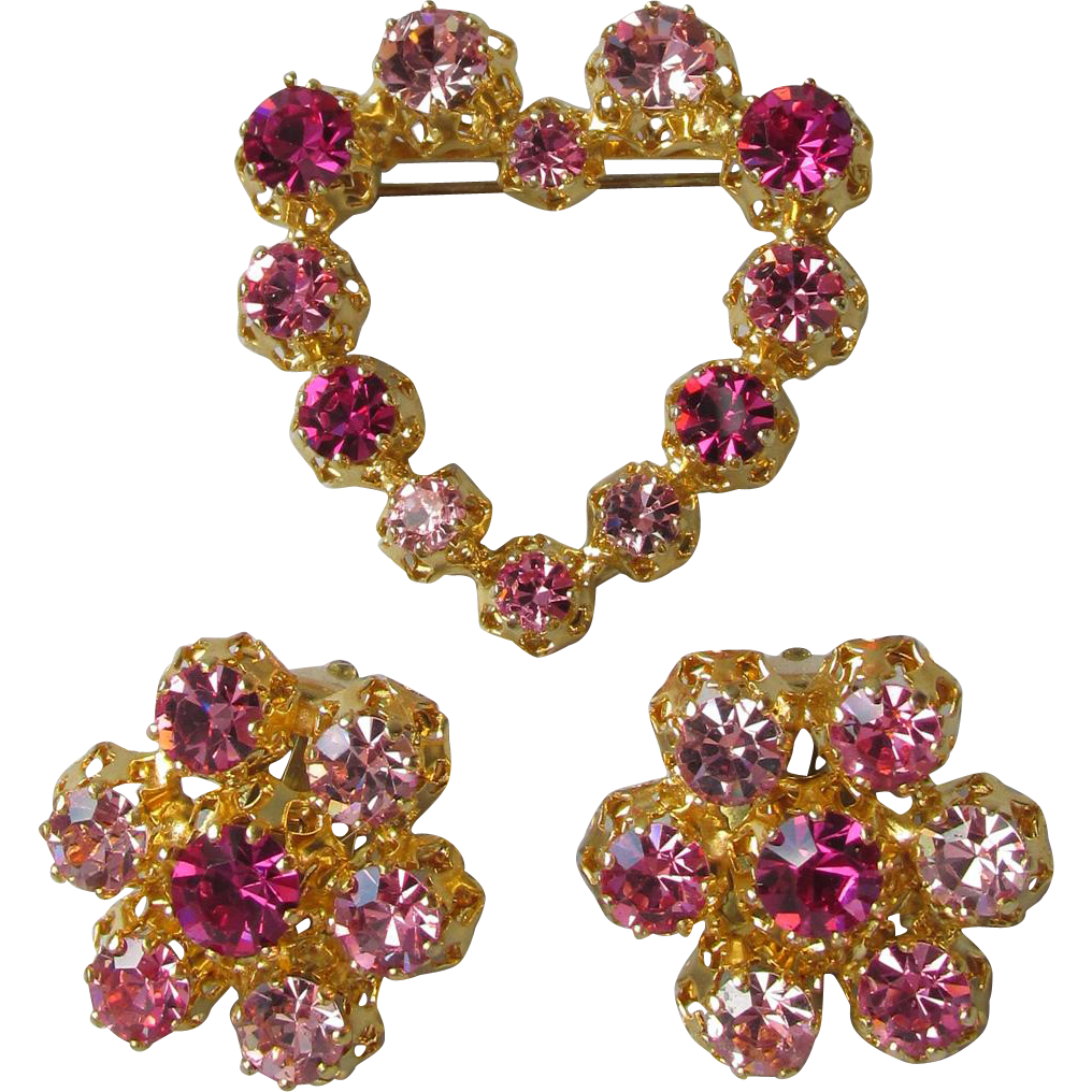 Sparkling Vintage Made In Austria Pink & Purple Rhinestone Heart Pin & Earrings Set