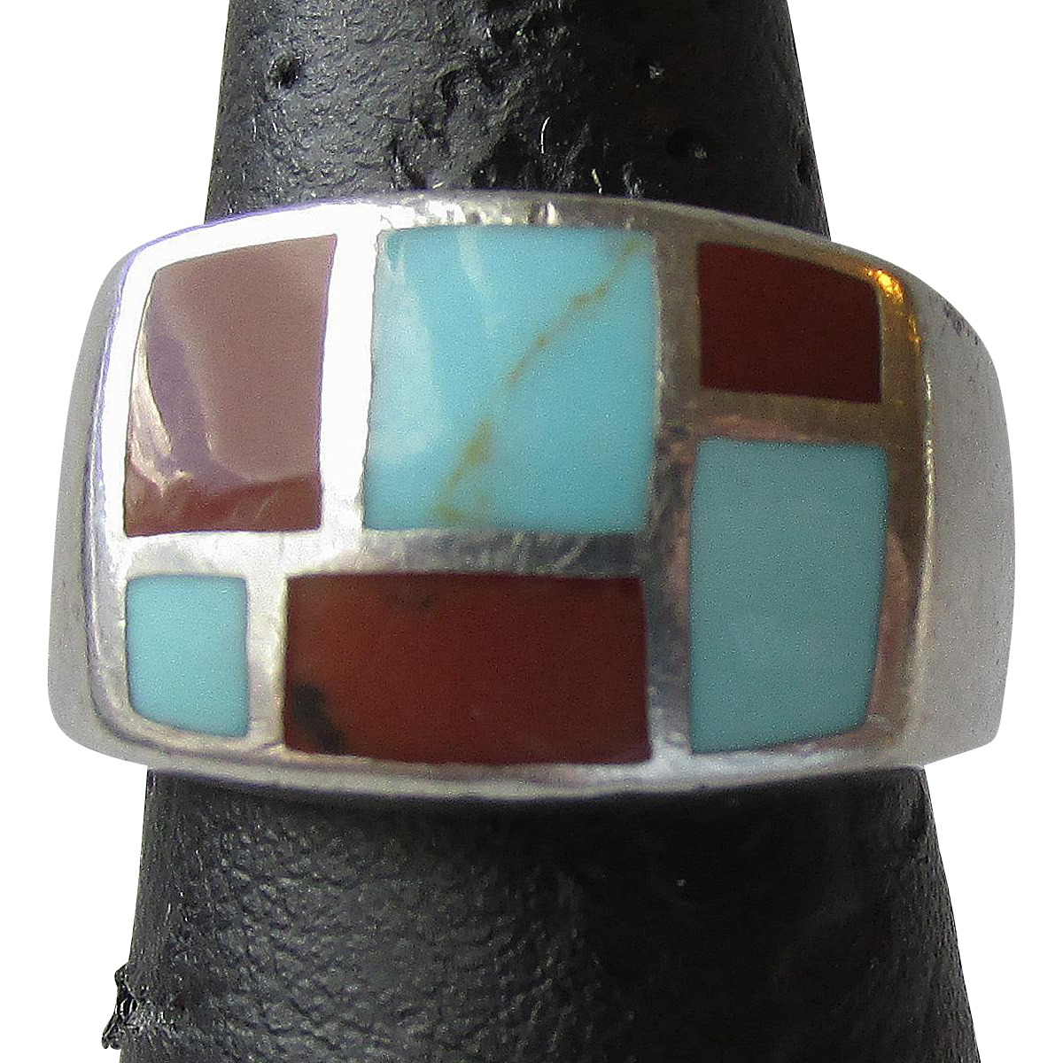 Vintage Inlaid Turquoise & Coral Sterling Silver Ring, Size 6