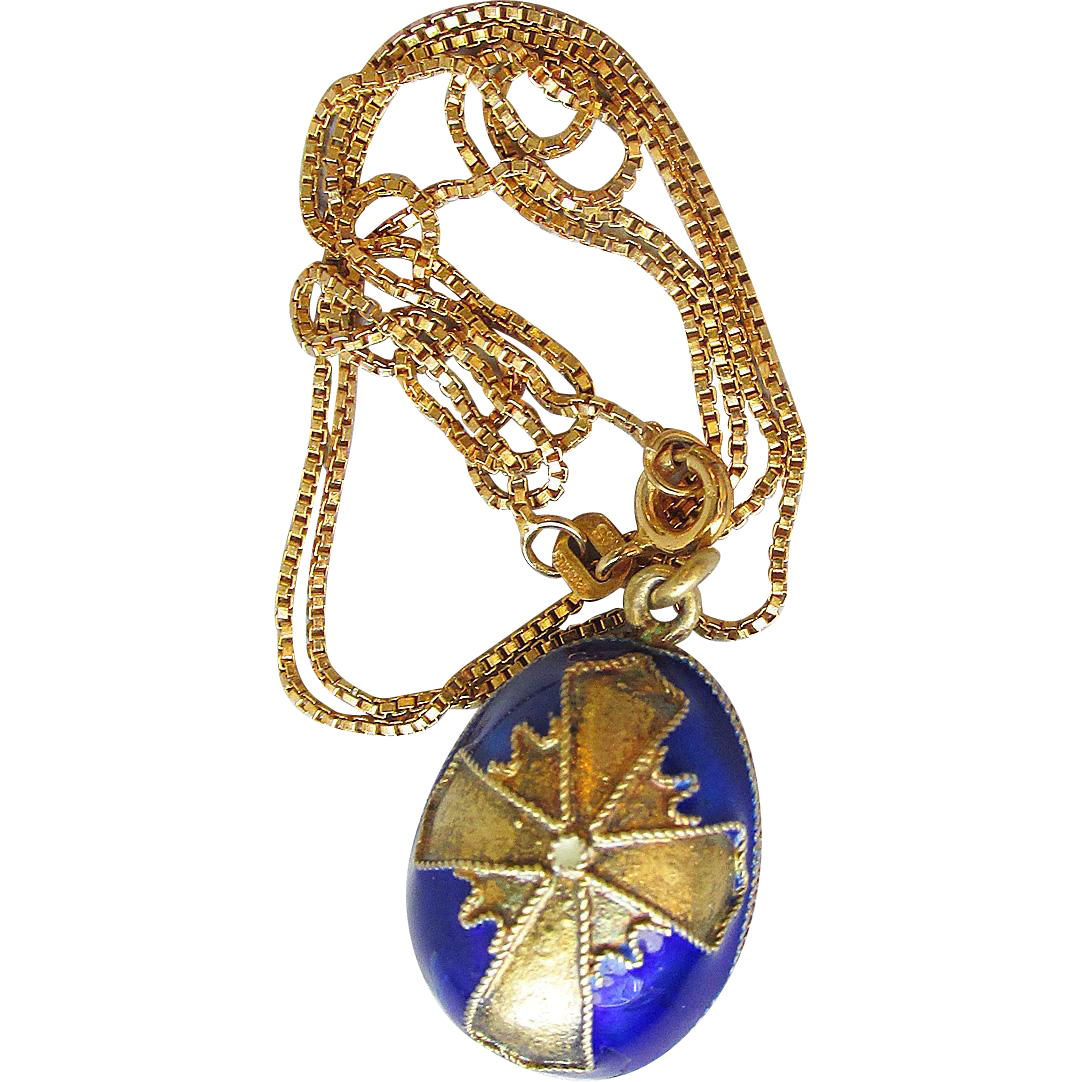 Vintage Sterling Silver Vermeil Cobalt Blue Enamel Cloisonne Egg with Maltese Cross Pendant Necklace