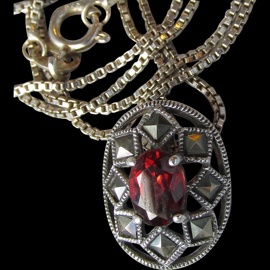 Vintage Sterling Silver Garnet & Marcasite Pendant Necklace