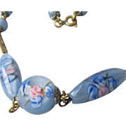 Vintage 1920's Baby Blue Venetian Glass Floating Pink Roses Bead Flapper Choker Necklace