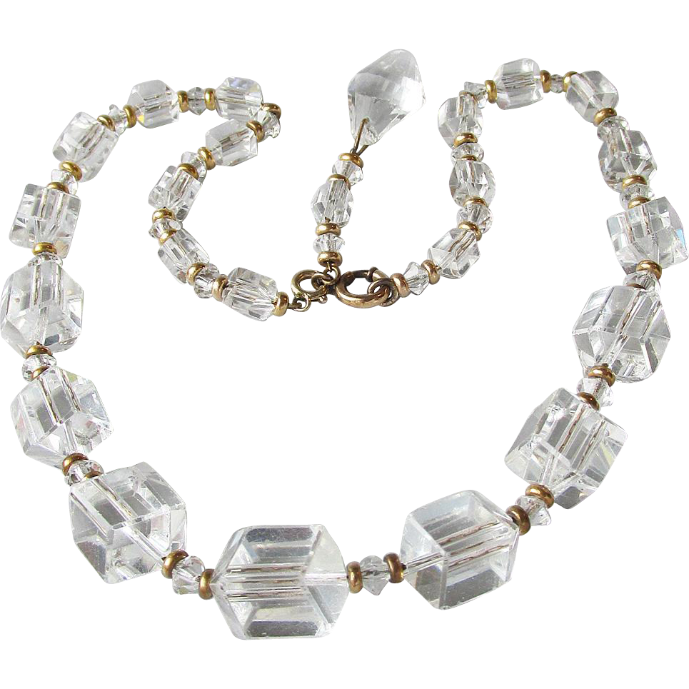 1940's Vintage Unusual Signed Simmons Square Cut Crystal Bead Gold Filled Chain Strung Necklace