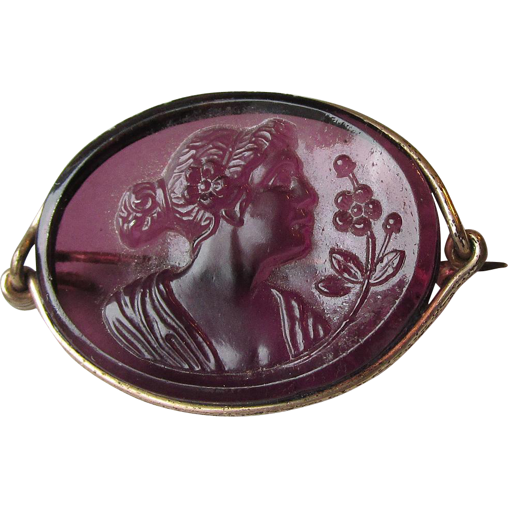 Antique Victorian Amethyst Molded Glass Gold Filled Cameo Pin