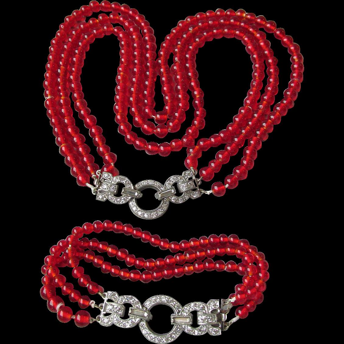1920's Vintage Triple Strand Red Glass Bead Art Deco Rhinestone Clasp Bracelet & Flapper Necklace Set