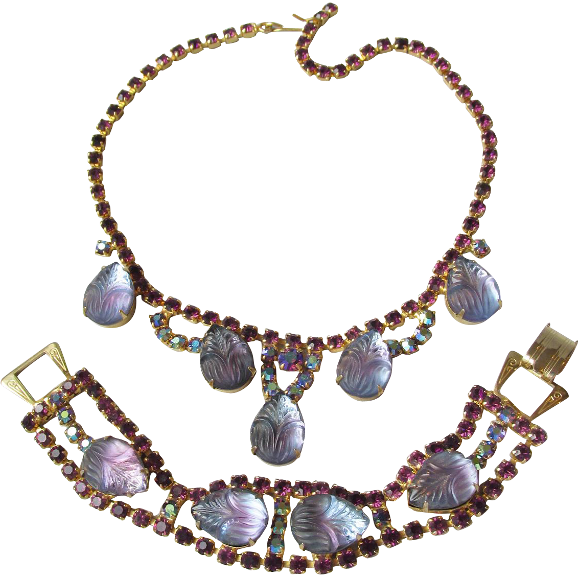 Vintage WEISS Lavender Molded Glass & Rhinestone Necklace & Bracelet Set