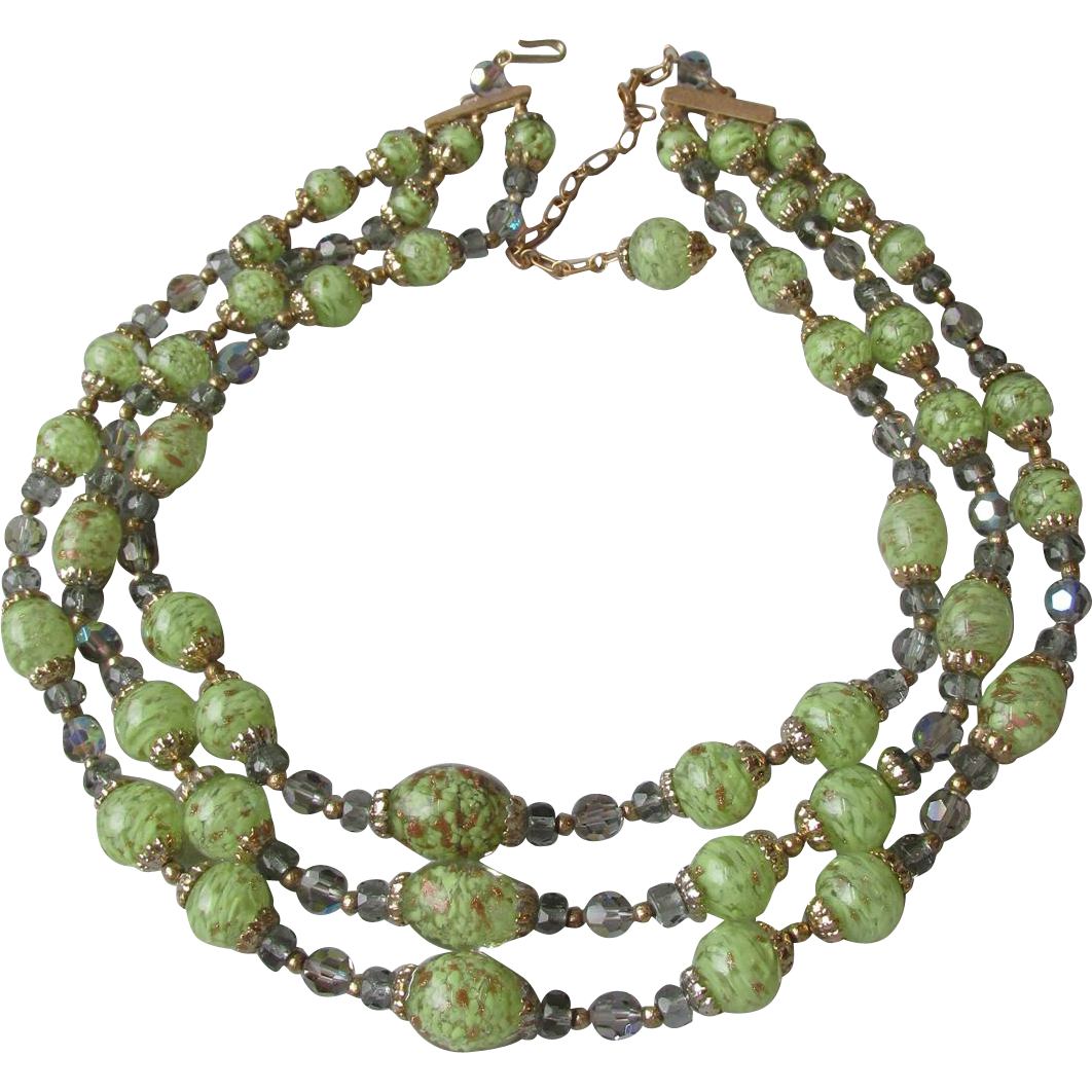 Vintage Triple Strand Lime Green & Gold Aventurine Venetian Murano Glass Bead & Crystal Necklace