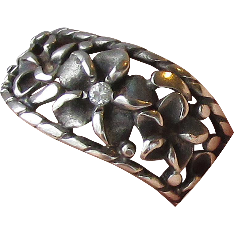 Pretty Vintage Sterling Silver & Diamond Flower Wavy Open Work Band Ring, Size 5