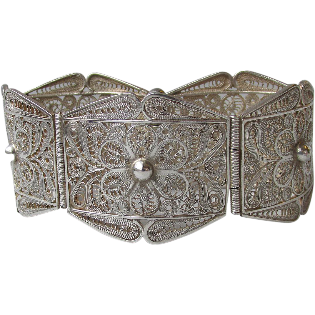 Wide Vintage Portuguese Sterling Silver Filigree Panel Bracelet
