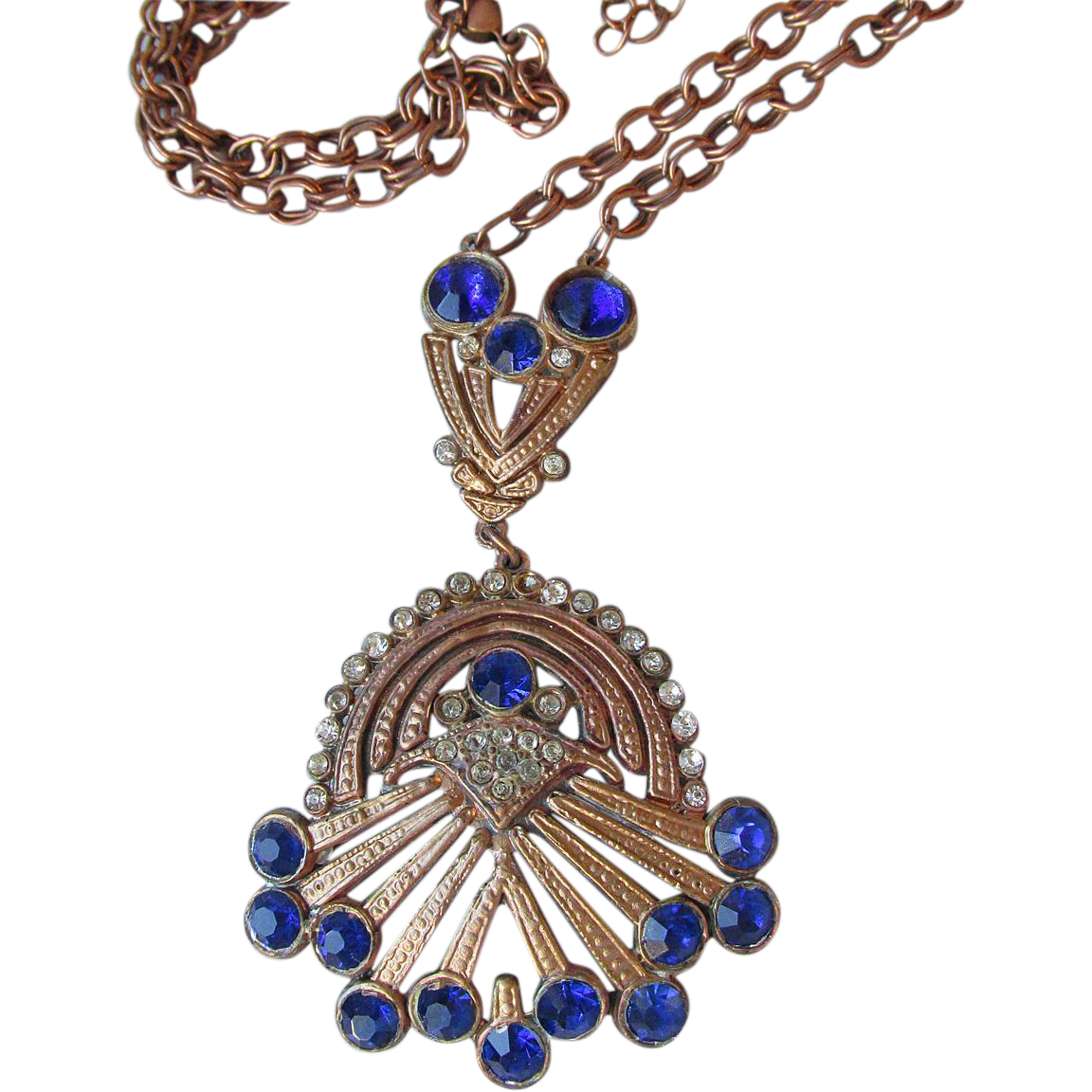 Exquisite Vintage 1930's Art Deco Copper Tone & Sapphire Blue Rhinestone Refurbished Necklace