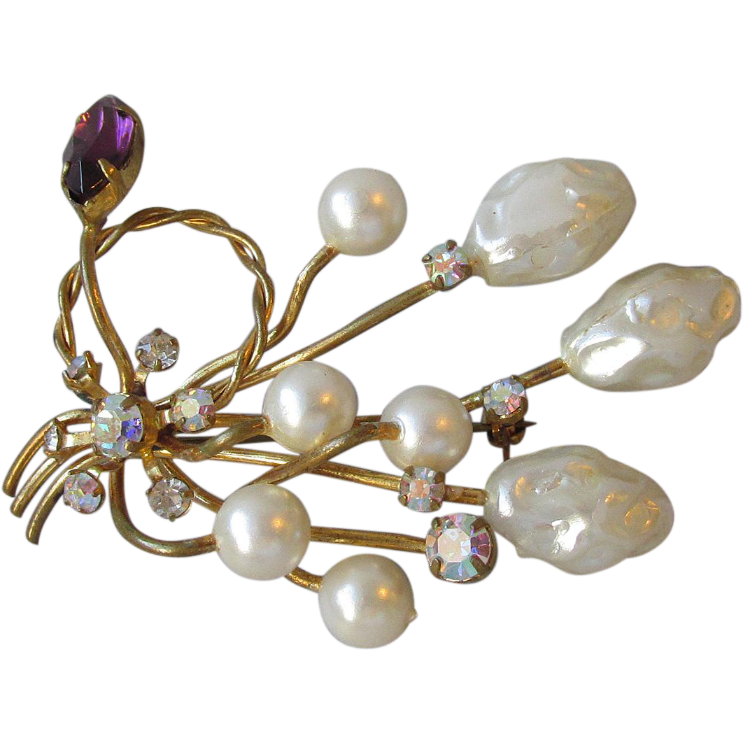 AUSTRIA Faux Baroque Pearl & Rhinestone Pin, Vintage Brooch