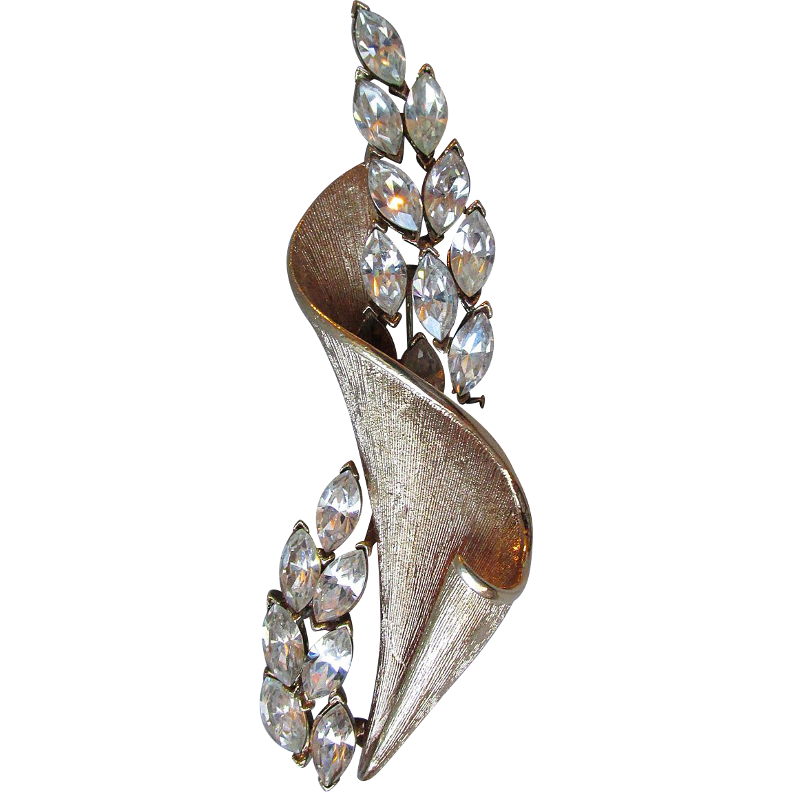 BIG Vintage Coro Pegasus Long 1950's Flower & Ribbon Rhinestone Pin