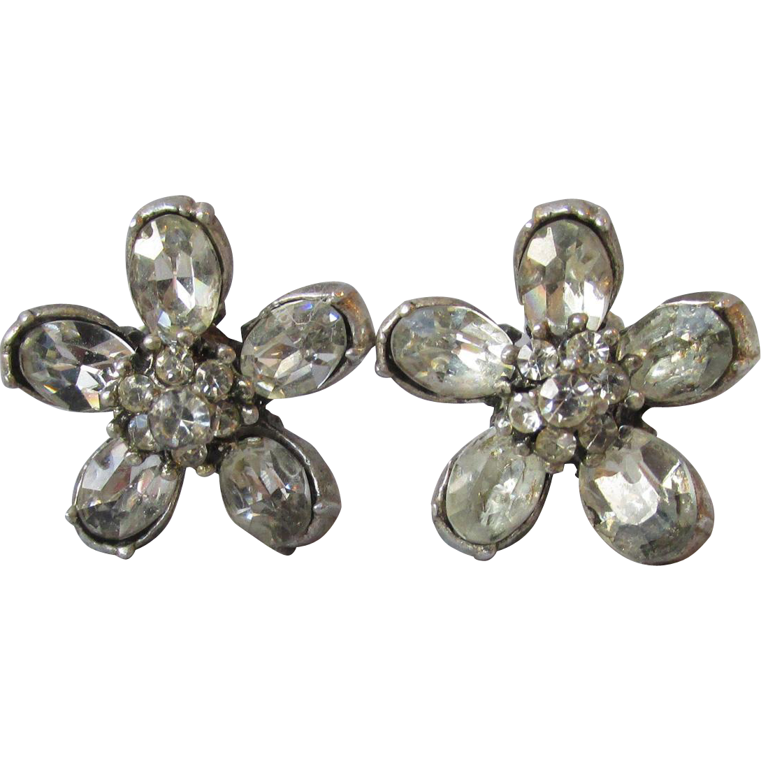 Very Early CORO Rhinestone Flower Earrings