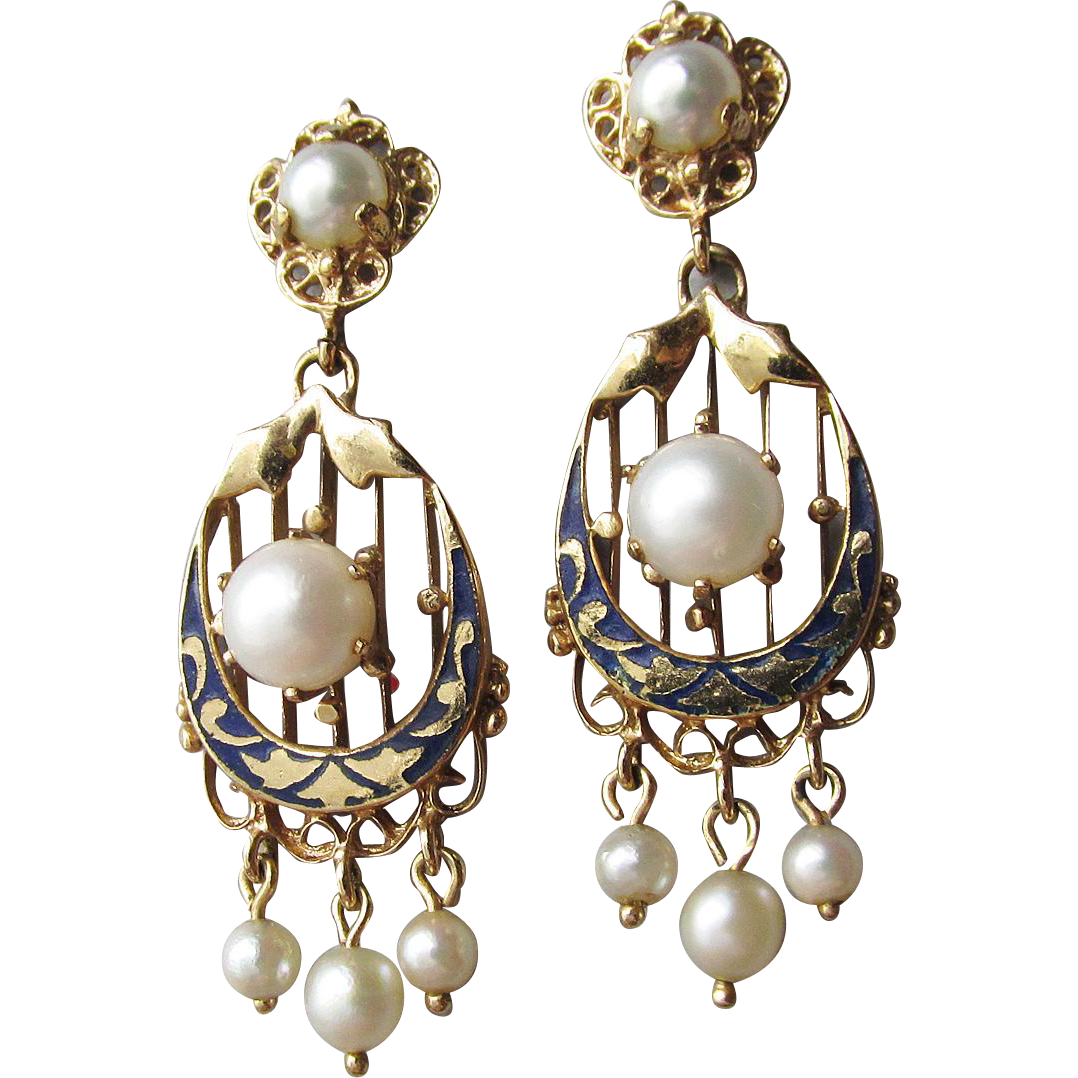 Antique Victorian 14k Gold, Enamel & Natural Pearl Dangle Earrings, Refurbished for Pierced Ears