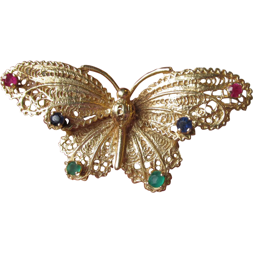 Exquisite 14k Gold Filigree Butterfly Pin with Rubies, Sapphires, Emeralds