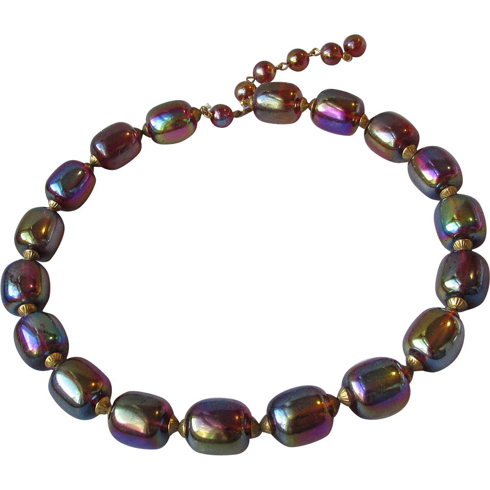 1950's Retro Iridescent Root Beer Lucite Barrel Bead Vintage Necklace