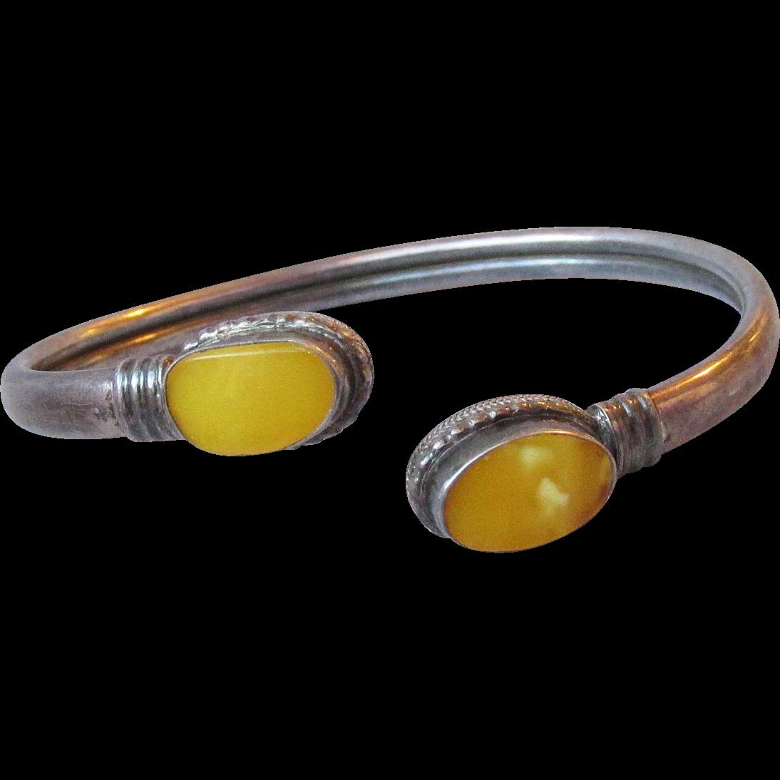 Vintage Natural Yellow Egg Yolk Amber Sterling Silver Open Bangle Bracelet