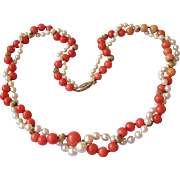 """Fine 1920's Vintage Coral & Cultured Pearl Double Strand 20"""" Necklace, 14k Gold Clasp & Beads"""