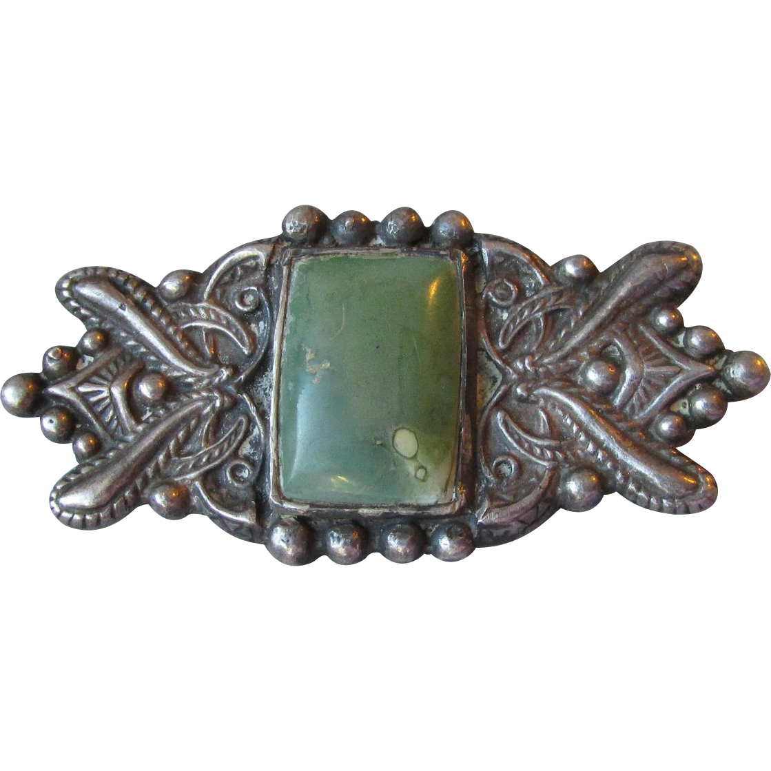 Early Mexican Sterling Silver Green Stone Pin