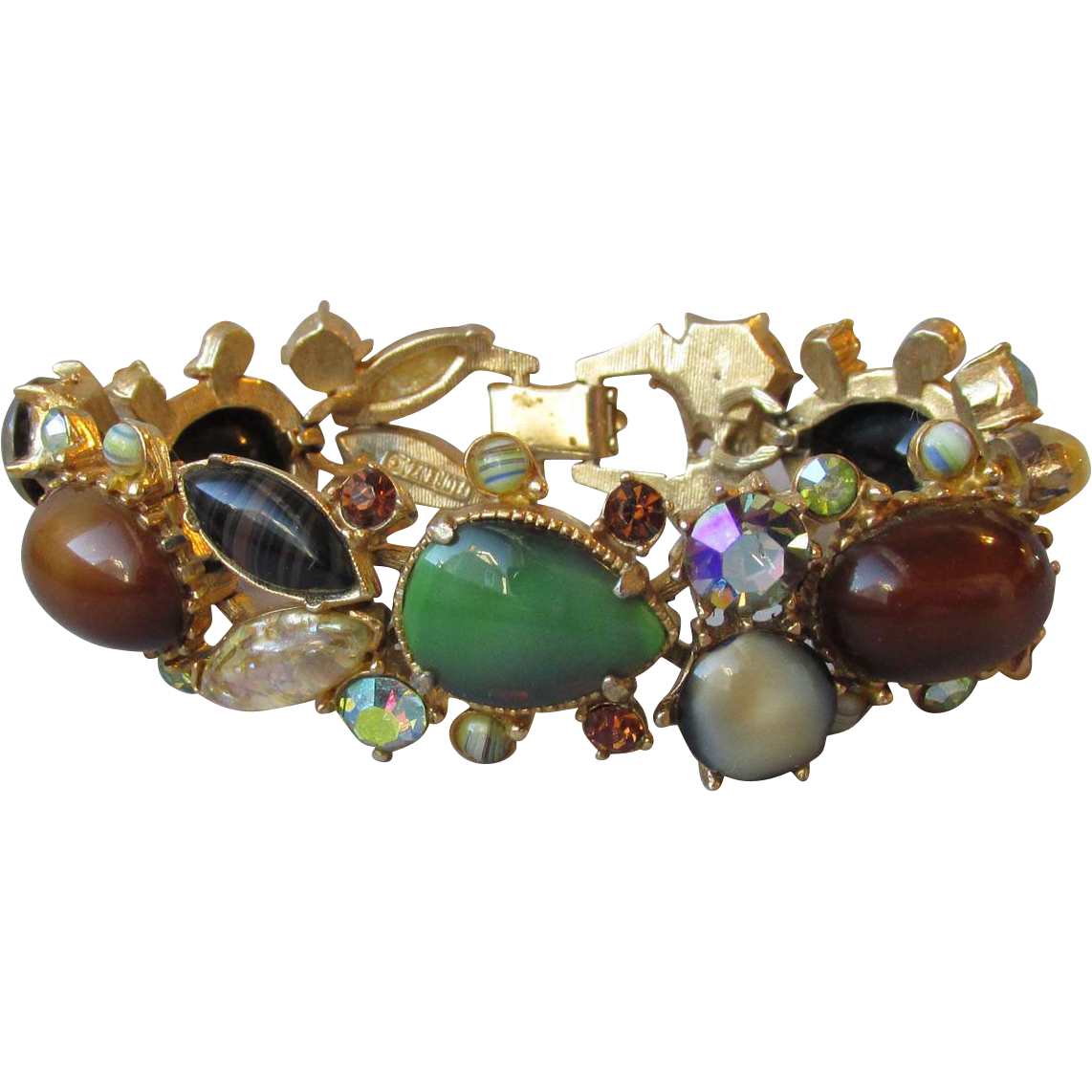 Gorgeous Vintage Signed FLORENZA Autumn Fruit Salad Art Glass Bracelet