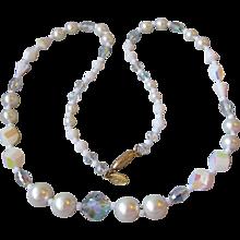 Signed Vendome Wedding White Aurora Borealis Crystal & Faux Pearl Necklace