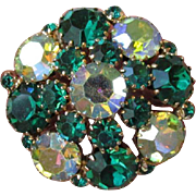 Vintage 60's Shades of Green AB Rhinestone Domed Brooch, Unsigned Weiss
