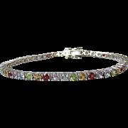 "Thin & Delicate Multi Gemstone Sterling Silver Vintage Tennis Bracelet, 7 1/2"" Long"