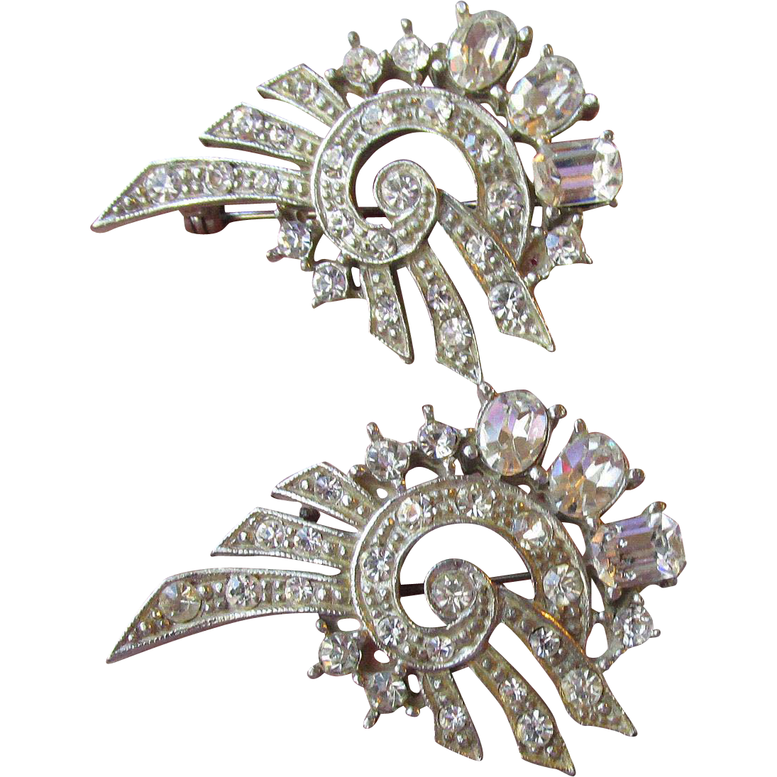 Pair of 1940's Retro Modern Rhinestone Pins
