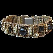 Chunky 1950's Retro Faux Pearl & Onyx Cabochon Bracelet