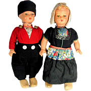 "Vintage HOLLAND DOLL Pair Boy Girl Large 17.5"" Tall International Dutch Dolls"