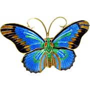 Vintage CHINESE EXPORT BUTTERFLY Pin 900 Silver Enameled Brooch Blue Green Gold Enamel